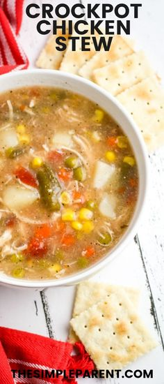 Make this easy Chicken Stew Crock Pot Recipe any time of the year! It's simple comfort food families love! Easy Chicken Stew, Slow Cooker Chicken Stew, Stew Chicken Recipe, Easy Crockpot Chicken, Vegetable Soup With Chicken, Healthy Crockpot Recipes, Slow Cooker Recipes, Chicken Recipes, Crock Pot Soup Recipes