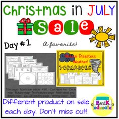 #ChristmasInJully #eandk The sale is on! Get it while you can. Awesome non fiction weather unit. https://www.teacherspayteachers.com/Product/Natural-Disasters-Severe-Weather-Tornadoes-Non-fiction-ScienceLiteracy-Unit-1717621