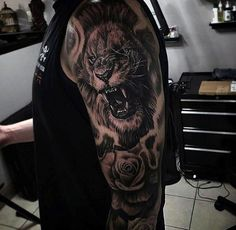 Guys Upper Arms Roaring Lion And Rose Tattoo