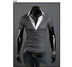 Mens Summer Tops Tees Short Sleeve T-Shirt Man,Solid Men's T-shirt Men's Brand Fashion Fake Two Piece T- Shirt