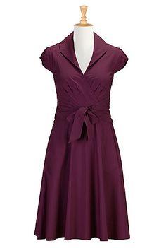 I <3 this Shawl collar sash waist poplin dress from eShakti