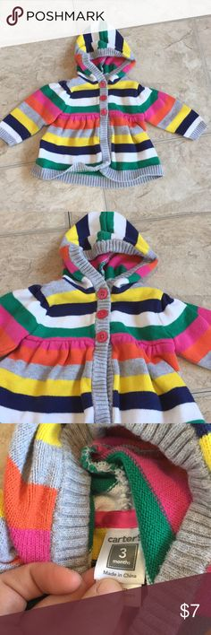 Baby girl three months  carter sweater In excellent used condition bright colors no rips. One tiny srain you can barely see it.  In picture Carter's Shirts & Tops Sweaters