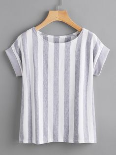 Shop Contrast Vertical Striped T-shirt online. SheIn offers Contrast Vertical Striped T-shirt & more to fit your fashionable needs. Girl Outfits, Casual Outfits, Cute Outfits, Blouse Styles, Blouse Designs, Sewing Blouses, Vertical Stripes, T Shirts For Women, Clothes For Women