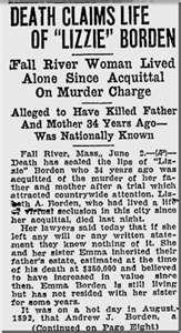 Newspaper Notice of the Death of Lizzie Borden in 1927