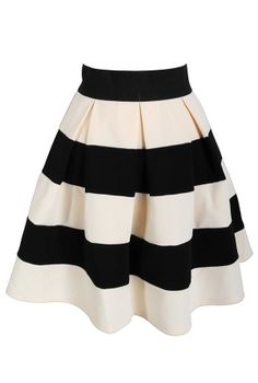 Black and Cream Pleated Stripe Skirt    www.lilyboutique.com