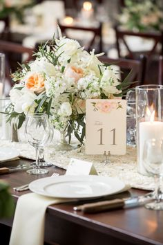 Classic floral inspired tablescape: http://www.stylemepretty.com/north-carolina-weddings/wilmington-nc/2015/10/02/classic-black-tie-north-carolina-coast-wedding/ | Photography: Theo Milo - http://theomilophotography.com/