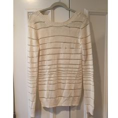 10 Crosby Derek Lam Sweater Cream/off white 10 Crosby Derek Lam knit sweater with striped stitching. Size Small, fits true to size. Scoop neck in the back. 10 Crosby Derek Lam Sweaters Crew & Scoop Necks