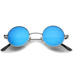 4b9b1c986c Small Retro Lennon Style Colored Mirror Lens Round Metal Sunglasses 41mm  Round Metal Sunglasses