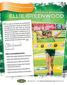 2014 Female Ultrarunner of the year is back for another year with Flora. Announcing...Ellie Greenwood! Ellie is strong and tough as nails. She took the title at both the Camrades Marathon and the IAU 100 k world championships. We are so proud to have Ellie on the team again.