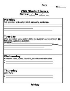 CNN Student News Daily Worksheet | School | Pinterest | Worksheets ...