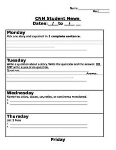 Current Events with CNN News: A Graphic Organizer for the Week  Projects to Try  Pinterest