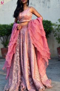 Pinkish Mauve Net Lehenga with Ruffle Duptta - Kurti Set Indian Fashion Dresses, Dress Indian Style, Indian Designer Outfits, Designer Dresses, Designer Bridal Lehenga, Indian Bridal Lehenga, Indian Gowns, Indian Wedding Outfits, Indian Outfits