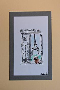 Paris and Bouboule french bulldog art by BoubouleArt