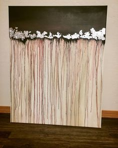 Acrylic Painting - Size: 28 x 36 inches - Silver leaf detail This one of a kind abstract artwork is made using acrylic paints and touches of silver leaf on canvas to create a truly original piece. The sides are painted, so it is ready to hang, be displayed in a floating frame or