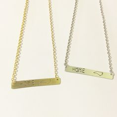 Hand stamped metal North Carolina 'home' necklace by WildArrowStudio on Etsy https://www.etsy.com/listing/244047257/hand-stamped-metal-north-carolina-home