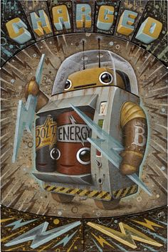 Retro Robot #robot #cyborg #scifi #sciencefiction #art holding lightening bolts, Charged, Cans inside of Bolt and Energy artwork
