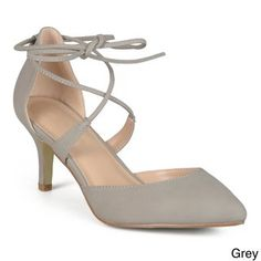 8dc17aa44 Journee Collection Women s  Cairo  Lace-up Ankle Strap Pointed Toe Pumps  (Grey