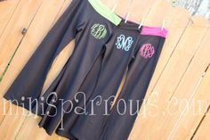 Monogrammed Yoga Pants by MiniSparrows on Etsy on Wanelo.....CUTE