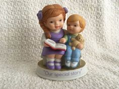 Avon Tender Memories, 1991, Our Special Story, Girl Reading Book, Boy with Bear,Avon Collectibles, Avon Figurines, Tender Memories