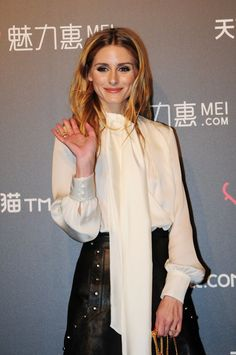Olivia Palermo Paired Her Leather Skirt With a Necktie Top