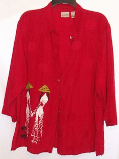 Chico's Red Button Front Size 3 Top 2 Asian Ladies Print Silk /Linen  3/4 Sleeve #Chicos #ButtonDownShirt #Casual