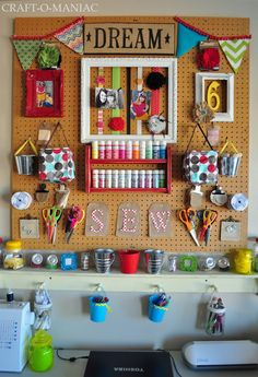 """Craft-O-Maniac: Craft Room Wall Reveal"" #furniture #painting #craftroom #inspiration"