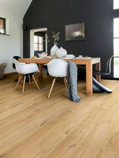 "ll➤ Quick-Step Impressive Ultra Soft Oak Natural"" Laminate Flooring Laminate Flooring Colors, Waterproof Laminate Flooring, Flooring Ideas, Flooring Sale, Timber Flooring, Kitchen Flooring, Quickstep Laminate, Black And White Dining Room, Quick Step Flooring"