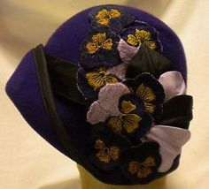 Vintage 1920's ladies hats | Cloche 1920's ladies flapper wool felt hat vintage style VIOLET/BLACK ...