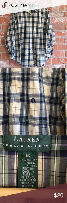 """Plaid Top By Ralph Lauren Plus Size 16 This top is in EUC. It measures 23"""" underarm to underarm and is 29"""" long. Please ask any questions before buying 💕💕 Ralph Lauren Tops Button Down Shirts"""