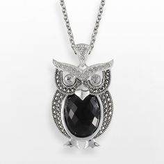 Lavish by TJM Sterling Silver Onyx and Crystal Owl Pendant ($180) ❤ liked on Polyvore featuring jewelry, pendants, black, round bezel pendant, onyx pendant, owl pendant, sterling silver owl jewelry and crystal owl pendant