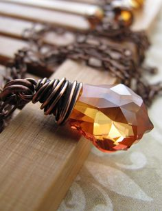 Amber Orange Crystal Pendant Necklace, Rust Orange, Wire-Wrapped in Antiqued Copper, Fall Fashion, Autumn Jewelry, Vintage Style Jewelry