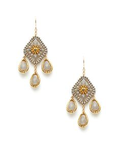 Miguel Ases Grey &Gold Small Chandelier Earrings