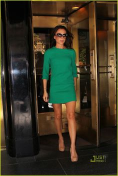 Victoria Beckham- love her sense of fashion... love the green with nude heels
