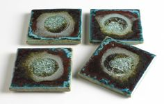 Crushed fused glass coasters