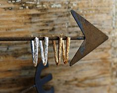 Silver Triangle Hoops. $98.00, via Etsy.