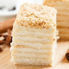 a creamy napolean puff pastry cake recipe. Napolean Puff Pastry cake Recipe from… a creamy napolean puff pastry cake recipe. Napolean Puff Pastry cake Recipe from Grandmothers Kitchen. Cupcakes, Cupcake Cakes, Just Desserts, Delicious Desserts, Yummy Food, Baking Recipes, Cake Recipes, Dessert Recipes, Napoleon Cake