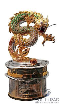 Parmigiani's Dragon and the Pearl of Wisdom SIHH) Dragon, Wisdom, Pearls, Celebrities, Art, Clock Art, Craft Art, Beads, Celebs