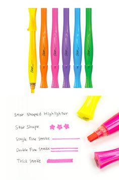 You will never want to miss this unique highlighter! With this versatile highlighter, you can draw single line, double lines, single thick line and also stamp star shape. Have a fun writing experience with the Star Shaped Highlighter!