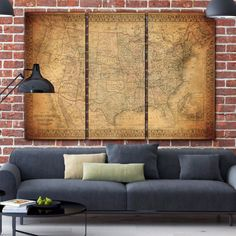 Huge Vintage Map of North America in 3-panels with Ornate border in antique brownish tones and subtle tones of color. God Bless America. SHOP WITH CONFIDENCE FROM HOLY COW CANVAS STUDIOS: - EPSON Stat