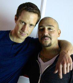 Jason Dohring (Logan Echolls) & Francis Capra (Eli 'Weevil' Navarro) on the set of Veronica Mars.