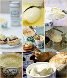 Clotted cream (sometimes called scalded, clouted, Devonshire or Cornish cream) is a thick cream made by indirectly heating full-cream cow's milk using steam or a water bath and then leaving it in shallow pans to cool slowly. During this time, the cream content rises to the surface and forms 'clots' or 'clouts'. It forms an essential part of a cream tea.