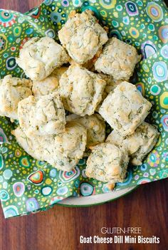 Light, tangy, easy to make Gluten-Free Goat Cheese Dill Mini Biscuits are a fun bite-size addition to spring meals or Easter! Perfect with fish or soups.