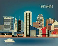 Baltimore, Maryland Skyline, Horizontal Art Poster Print For Home or Office - style E8-O-BAL
