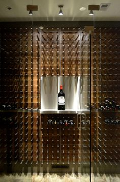 wine wall with custom magnum shelf #DuVino #wine www.vinoduvino.com
