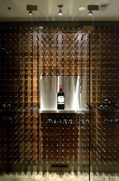 wine wall with custom magnum shelf #DuVino #wine www.vinoduvino.com