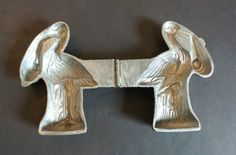 "NICE VINTAGE ""E & Co."" EPPELSHEIMER ""STORK & BABY"" PEWTER ICE CREAM MOLD, #1151"