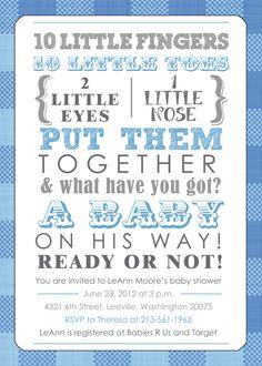 Baby Shower Invitation - Boy - Blue Plaid. $15.00, via Etsy.