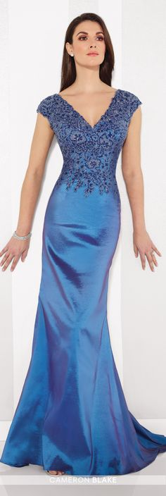 Formal Evening Gowns by Mon Cheri - Fall 2016 - Style No. 216688 - blue and purple trumpet evening dress with beaded bodice and V-necklines