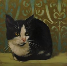 Beth the Tuxedo Cat original painting, painting by artist Diane Hoeptner