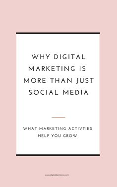 There\'s more to marketing your business than Social Media. Click to read the other marketing activities you should be thinking about. #socialmediamarketing #digitalmarketing #marketingonline